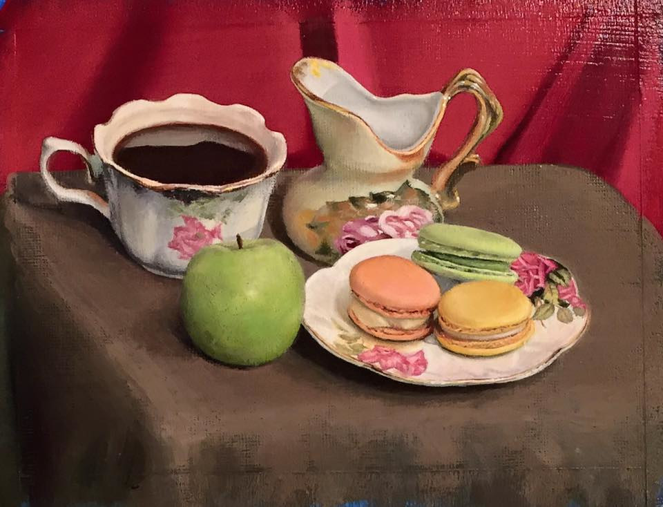 Acrylic painting COFFEE & MACAROONS by Art Carrillo