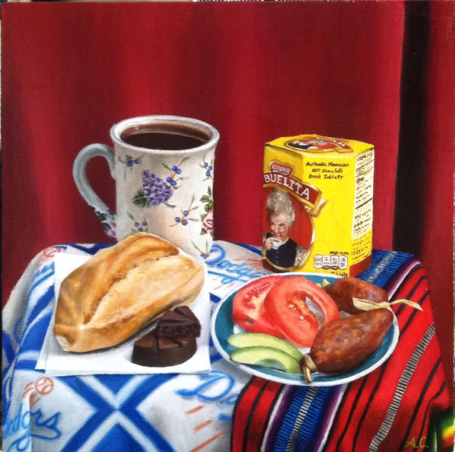 Acrylic painting CHORIZO AND HOT CHOCOLATE by Arthur Carrillo