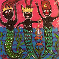 "Acrylic painting 3 Mermen - 20"" x 20"" by Diane Green"