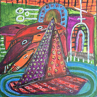 "Acrylic painting Haitian Boat Shrine - 12"" x 12"" by Diane Green"