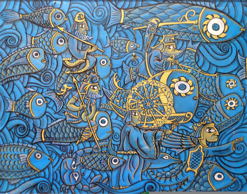 Painting Battle of the Fish-Approach by Kenneth M Ruzic