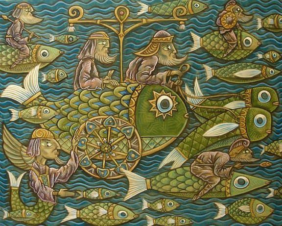 Acrylic painting Battle of the Fish-Approach by Kenneth M Ruzic