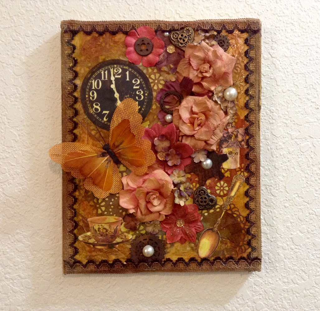 Mixed-media artwork Tea Time by Linda Cohen