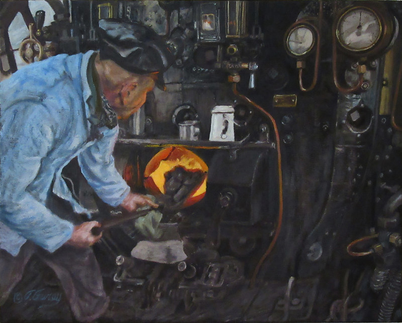 Painting Steam Train by Tom Furey by David Eater
