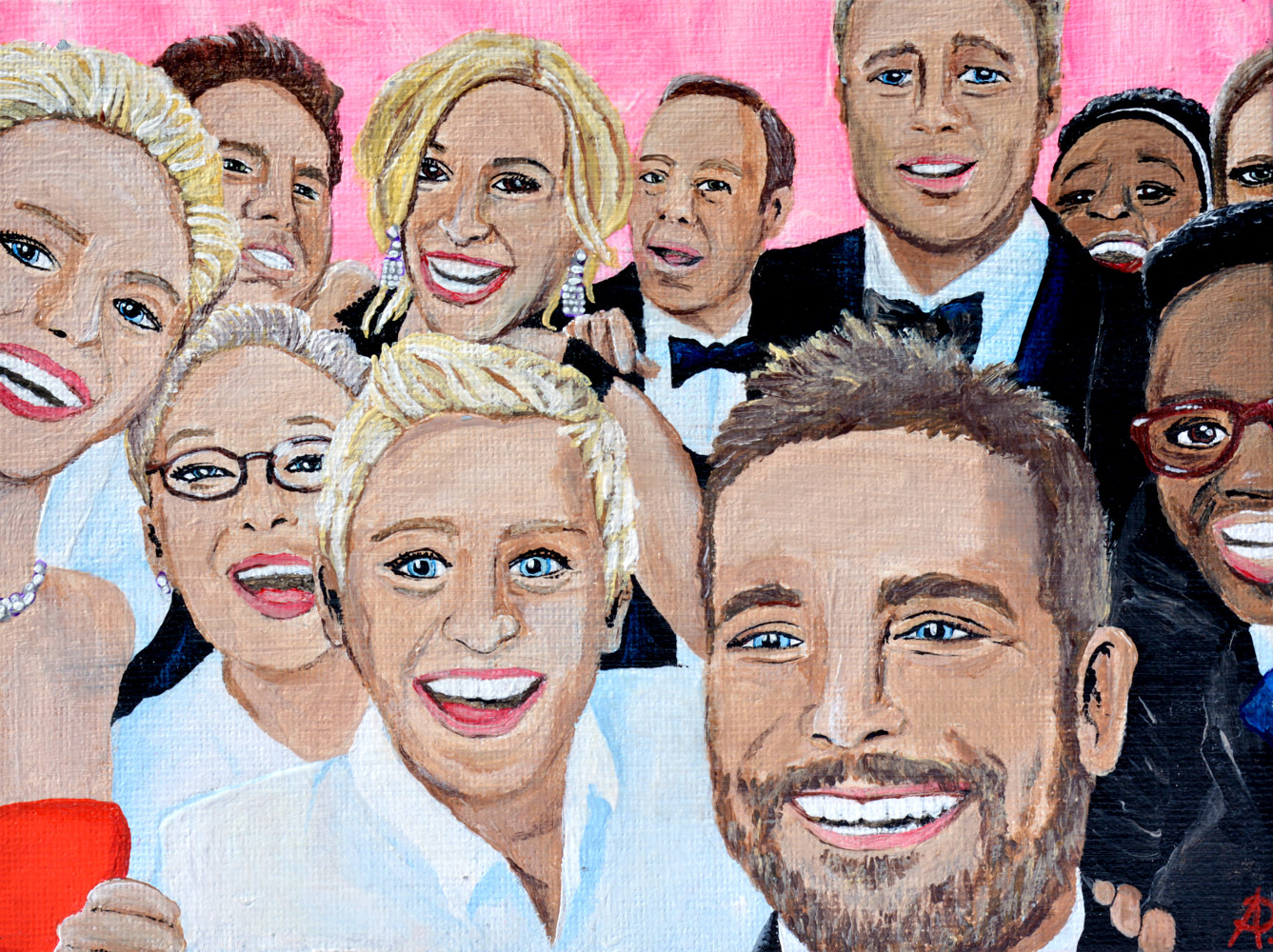 Acrylic painting Oscar Selfie - Sold by Amber N Petersen