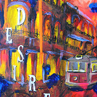 Acrylic painting A Streetcar by Amber N Petersen