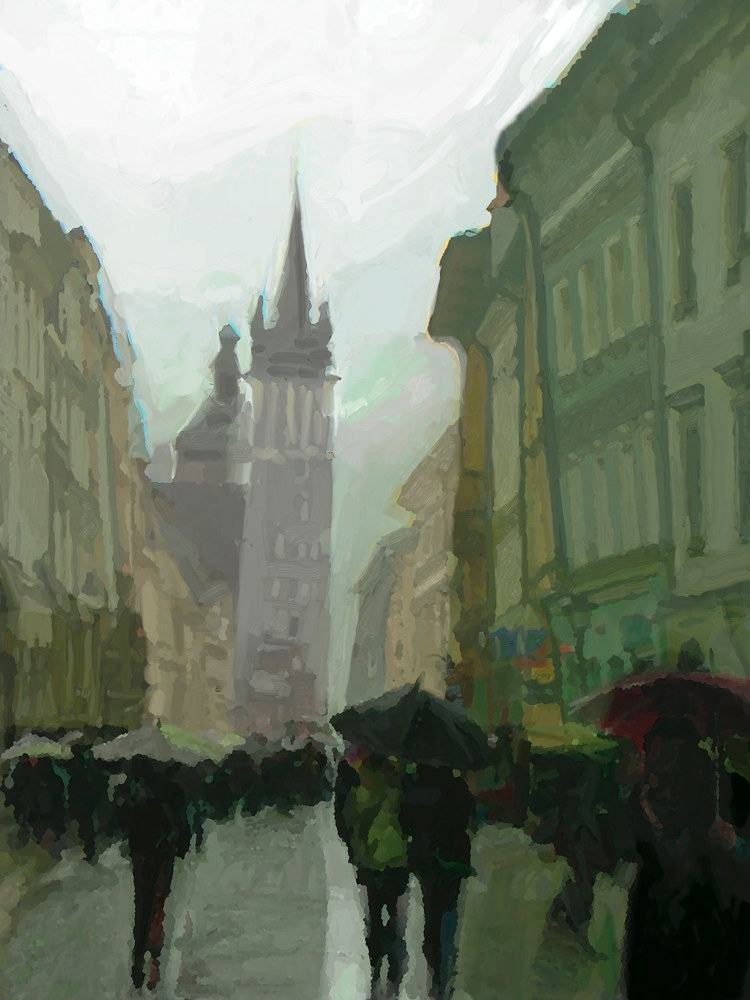Watercolor Cracow Street in the Rain by Bernard Dick
