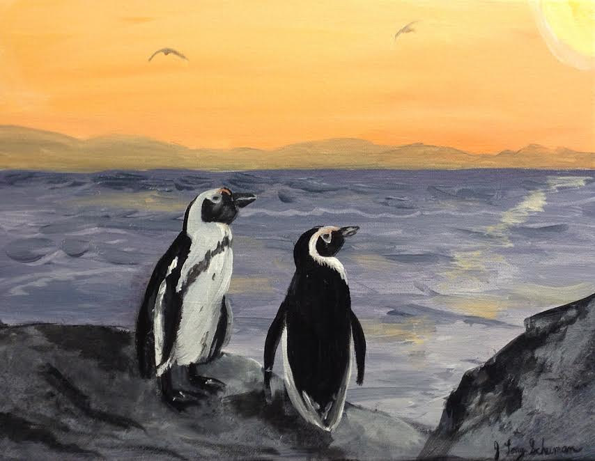 Acrylic painting Two Penguins by June Long-schuman