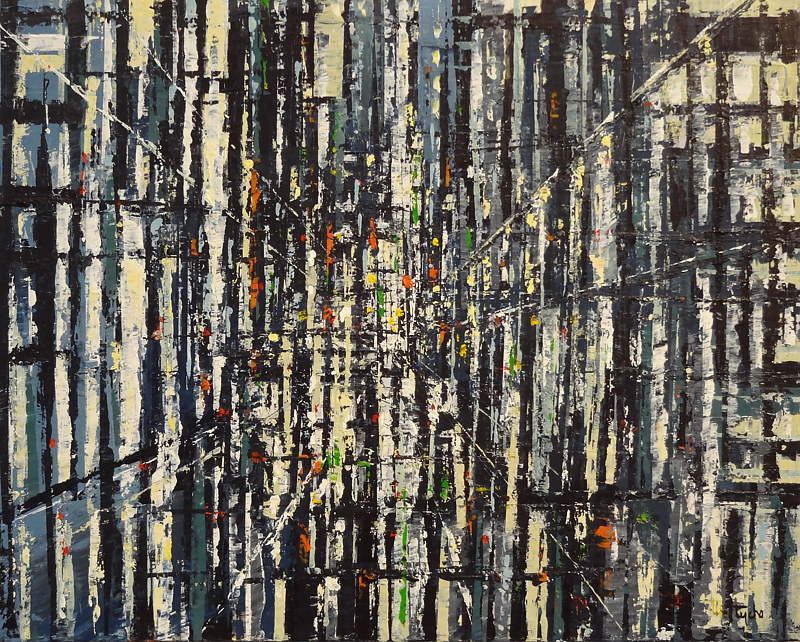 Acrylic painting City in Black White and Grey  by David Tycho