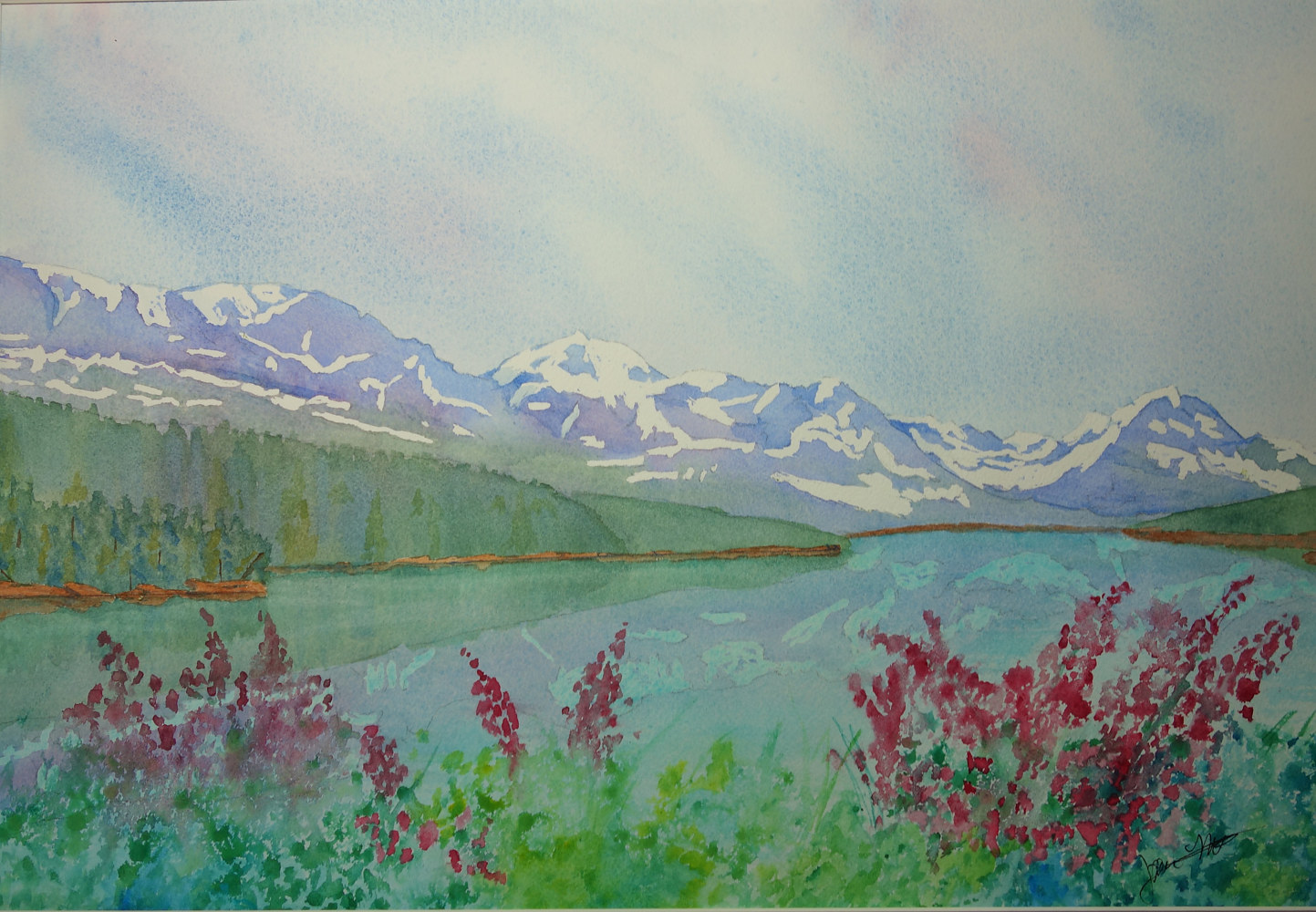 Watercolor LakeSherburne by Joan Morris