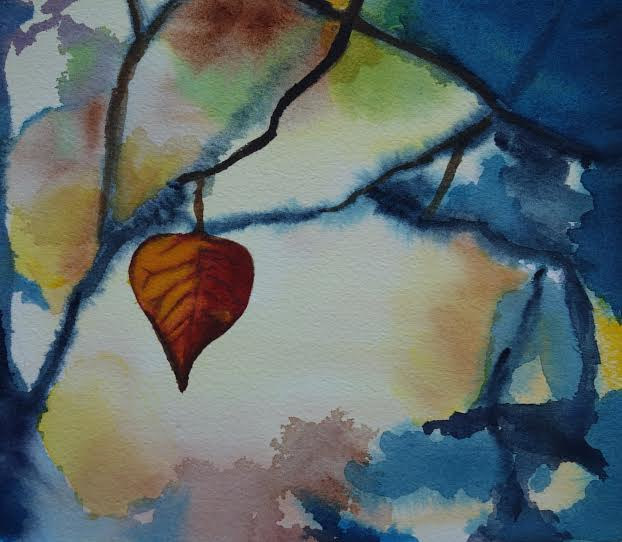 Watercolor Last Leaf by Joan Morris