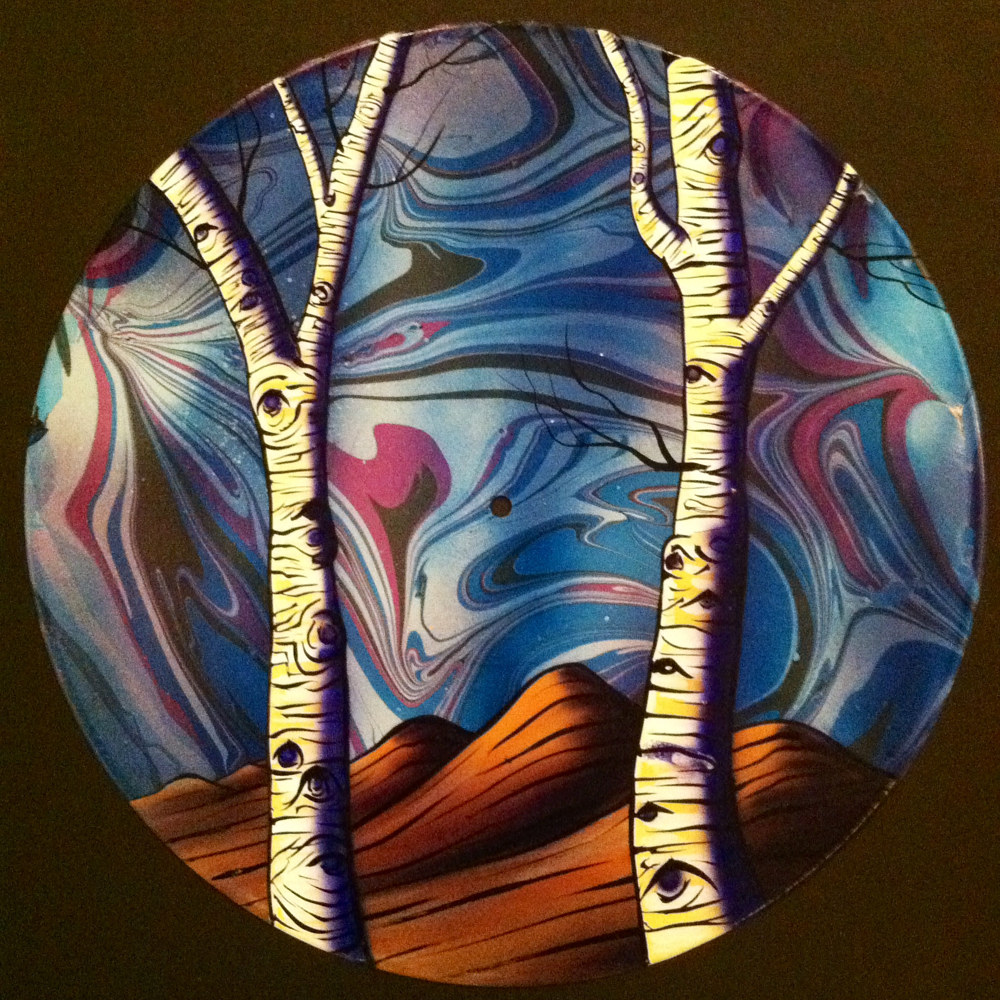 Winter Aspens Trees - Painting on Vinyl Record by Mr Mizu by Isaac Carpenter