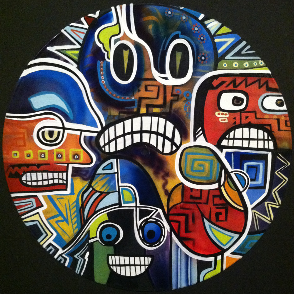 Strange Faces Painting on Vinyl Record by Mr Mizu by Isaac Carpenter