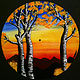 Autumn Aspen Sunset Painting on Vinyl Record by Isaac Carpenter