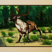 Painting Deer Antlers-21x14 by Frans Geerlings