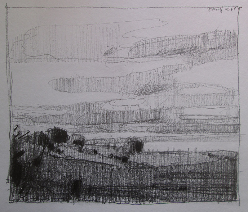 Drawing Evening on Lost Dog Hill by Harry Stooshinoff