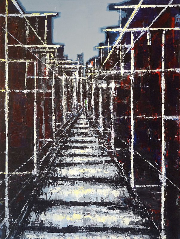 Acrylic painting Urban Composition No. 7 by David Tycho