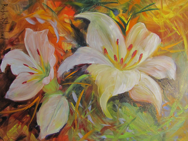 Oil painting White Lilies by Barbara Haviland