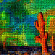 Orange Saguaros Mosaic  by Isaac Carpenter