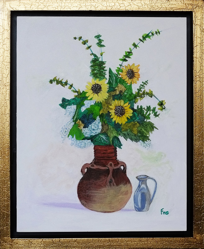 Acrylic painting Vase with flowers-11x14 by Frans Geerlings