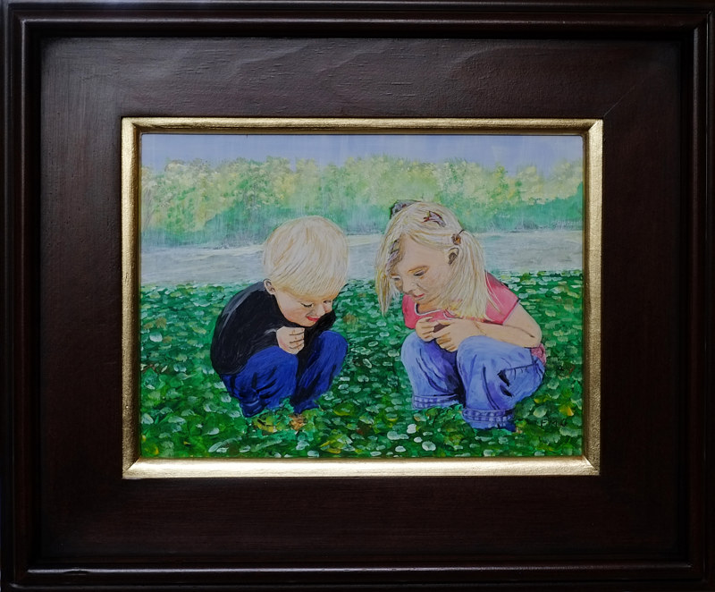 Acrylic painting Kids love bugs-9x12 by Frans Geerlings