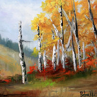 Painting Aspens in the Vallery Plein Air by Barbara Haviland