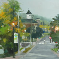Oil painting Early Morning in Millbrook by Eunice Sim