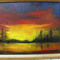 Oil painting  Sunset Over Lake by Barbara Haviland