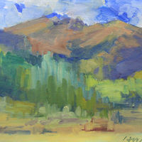 Gore Range from Alpine Meadow, oil on canvas board. by Susan Horn