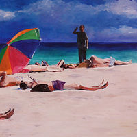 Oil painting beach bummer  by Madeline Shea