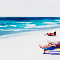 Oil painting beachside respite by Madeline Shea