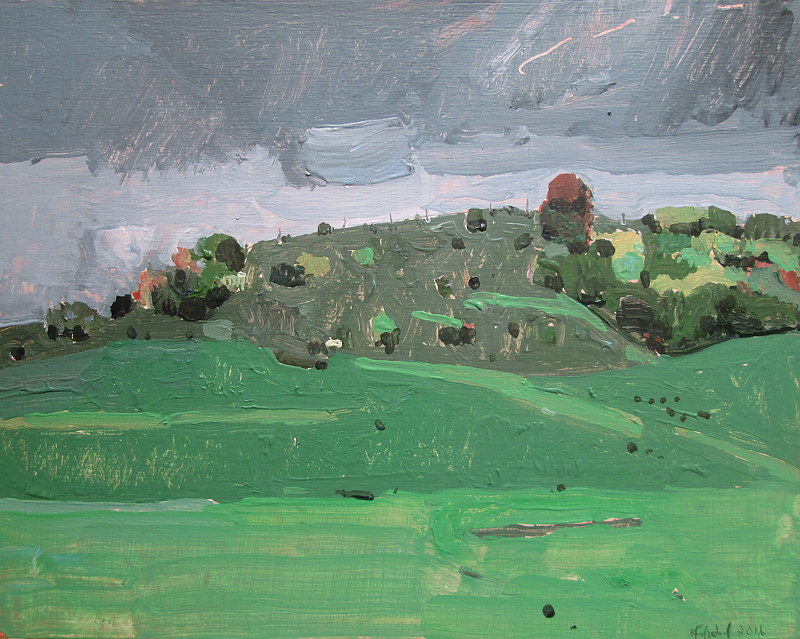 Acrylic painting Rain on Wendy's Hill by Harry Stooshinoff