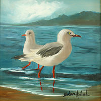 Oil painting Seagull Love  by Barbara Haviland