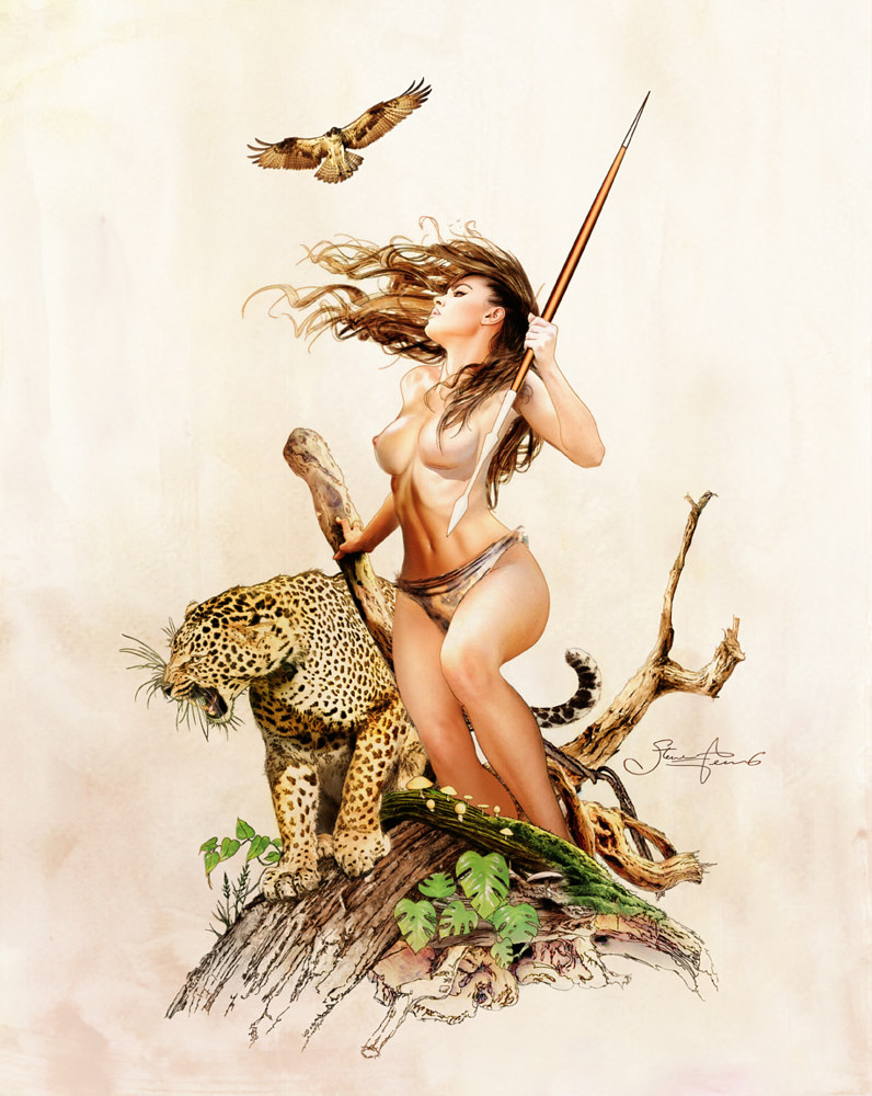 Jungle Girl with leopard by Steve Ferris