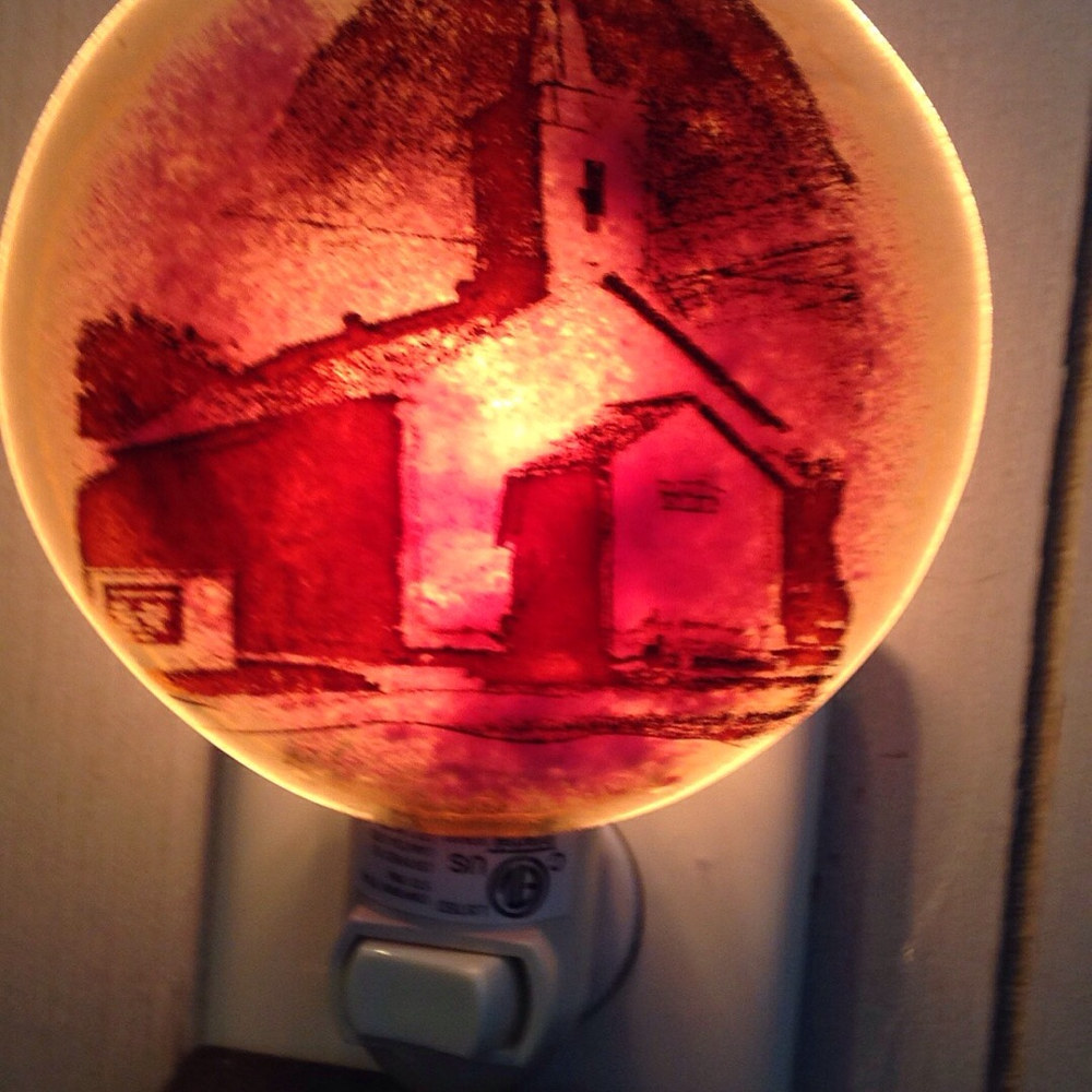 Photography Fused Glass Image onto Nightlight or Ornament of your choice  as this United Church Of Christ, Centralia, Illinois imaged on Nightlight by Renee Hennessy