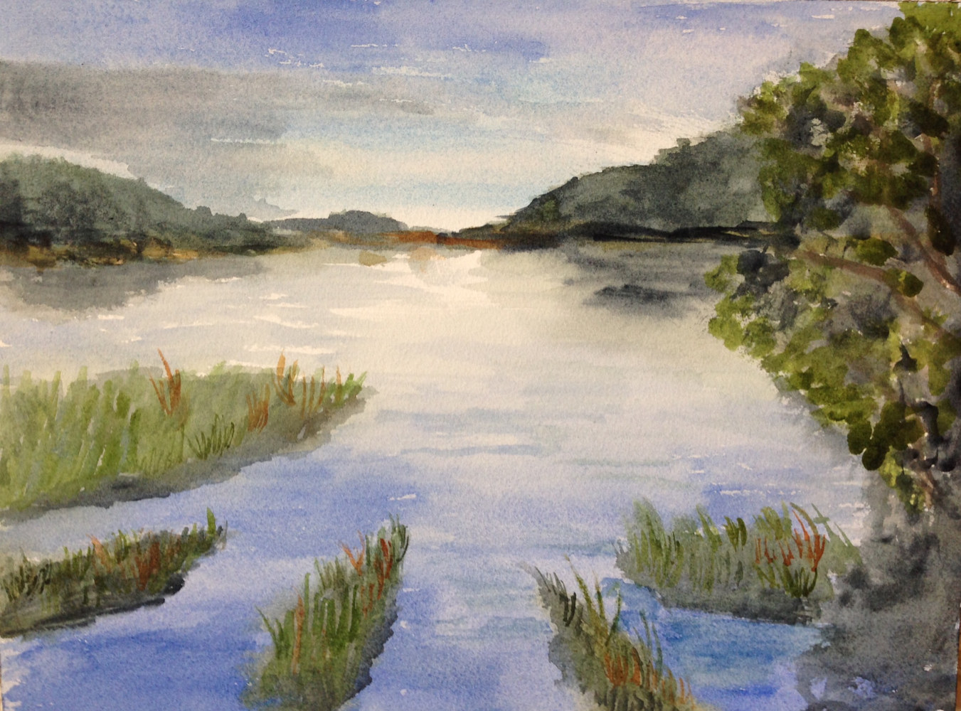 Watercolor Marshlands by Joan Morris