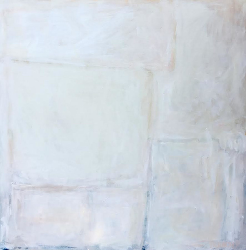 Acrylic painting Off the Grid: Abstract in Creamy Whites by Sarah Trundle