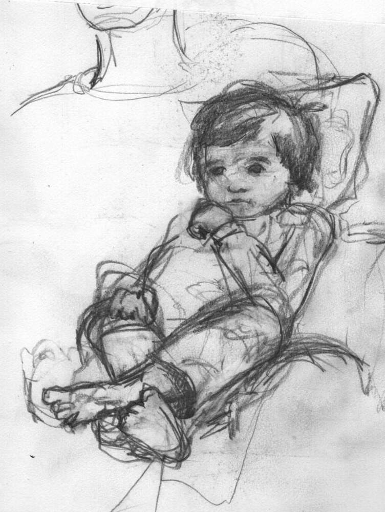 Drawing Lily in Bouncy Chair by Guy Grogan