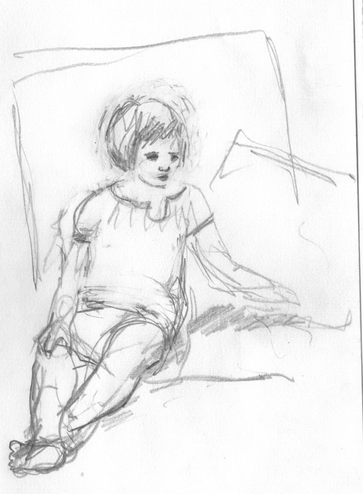 Drawing Lily Relaxing 2 by Guy Grogan
