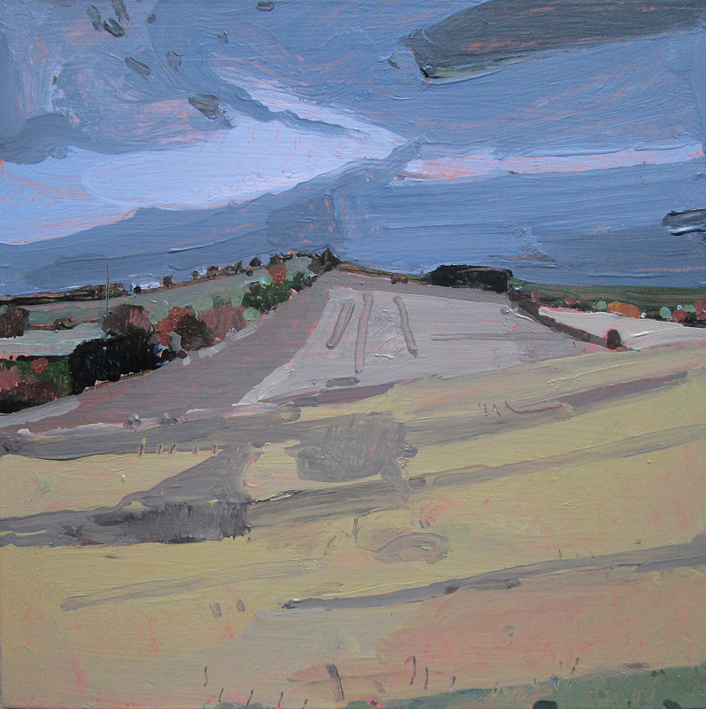 Acrylic painting Evening Yellow, October 16 by Harry Stooshinoff