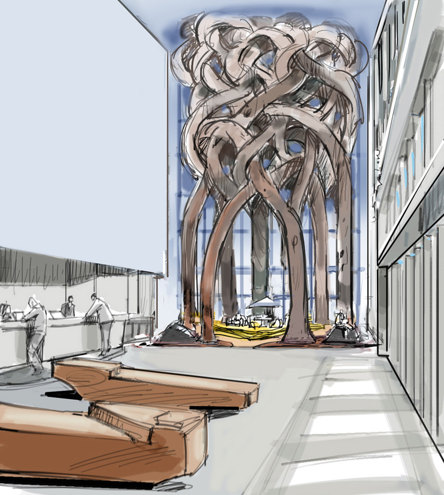 Salesforce building, San Francisco lobby concepts by Allen Wittert