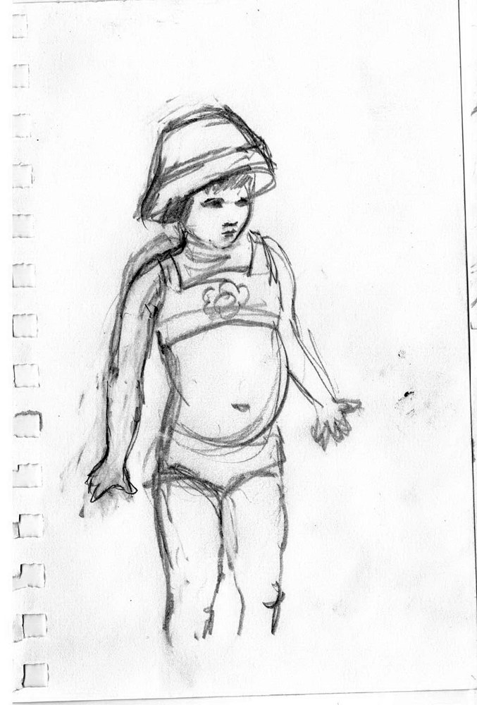 Drawing Lily at the Beach #1 by Guy Grogan