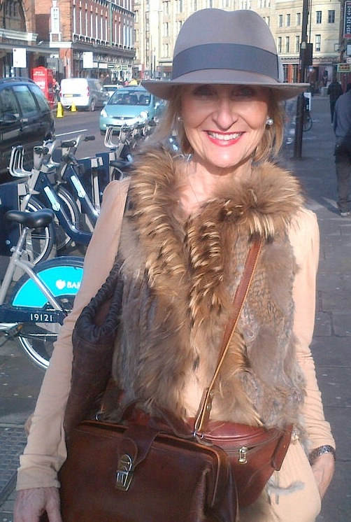 Heide rocking a blush and grey trilby by Fiona Menzies