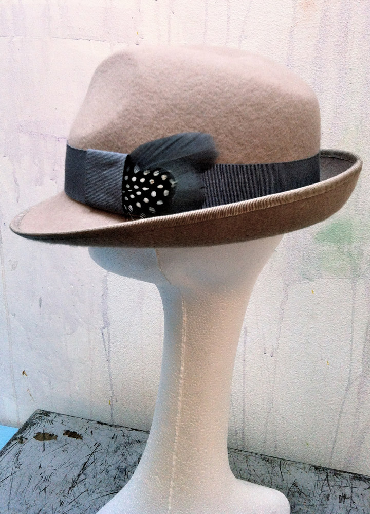 Blush / nude trilby with grey trim by Fiona Menzies