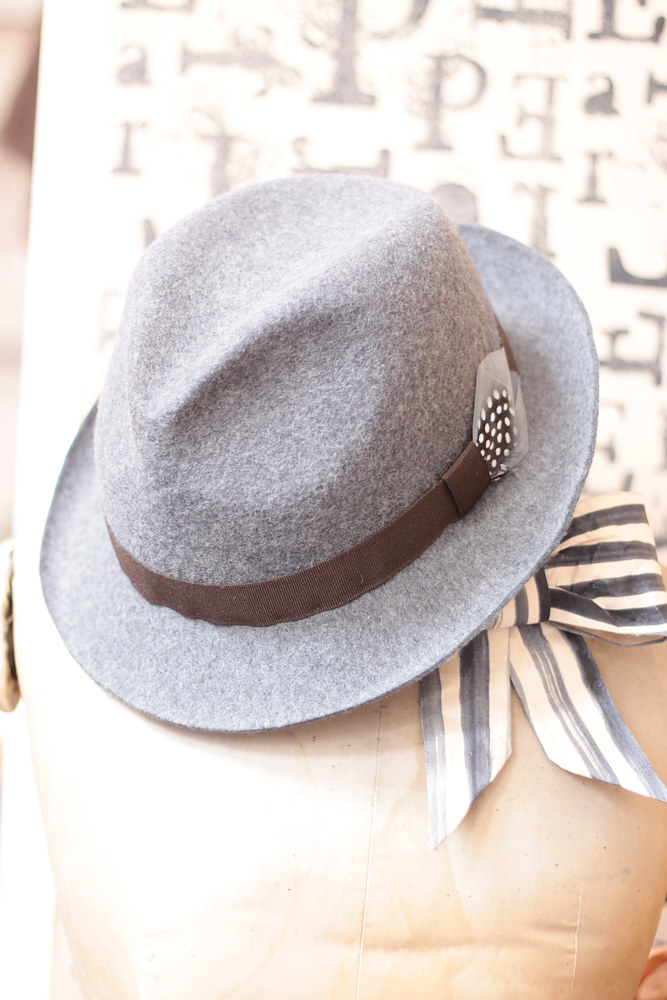 Grey felt trilby by Fiona Menzies