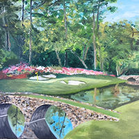 Oil painting Augusta National #12 Golden Bell by Stuart  Sampson