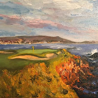 Oil painting Pebble Beach #7 by Stuart  Sampson