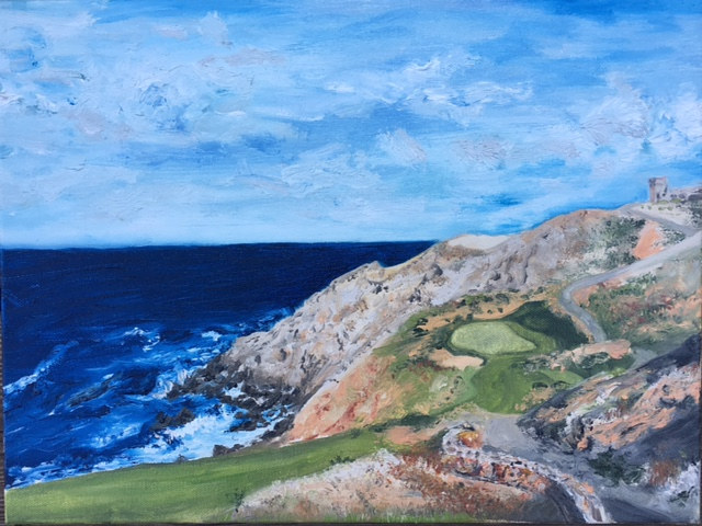 Oil painting Quivira Golf Club #13 by Stuart  Sampson