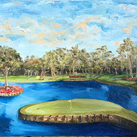Oil painting TPC Sawgrass #17 by Stuart  Sampson