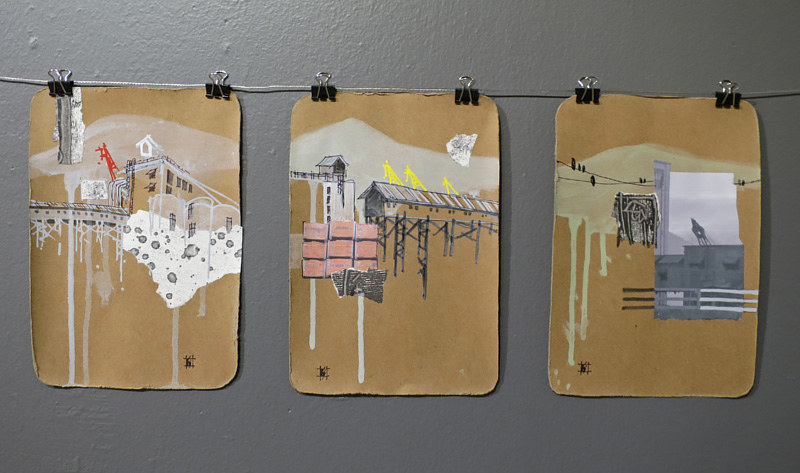 Mixed-media artwork PortTown Sketches 1, 2, 3 by Lori Sokoluk